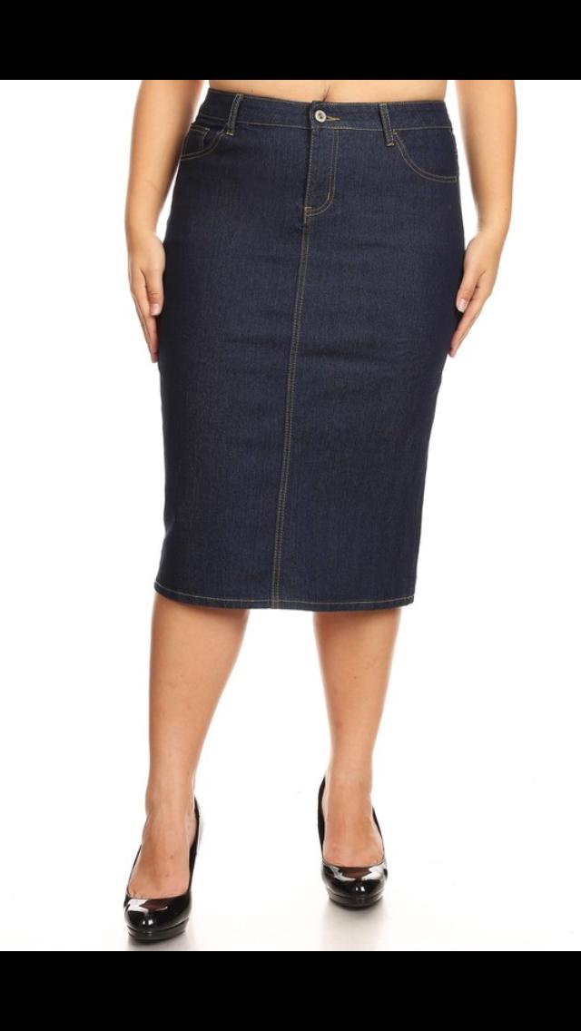 Plus Size Straight Denim Skirt, Calf Length