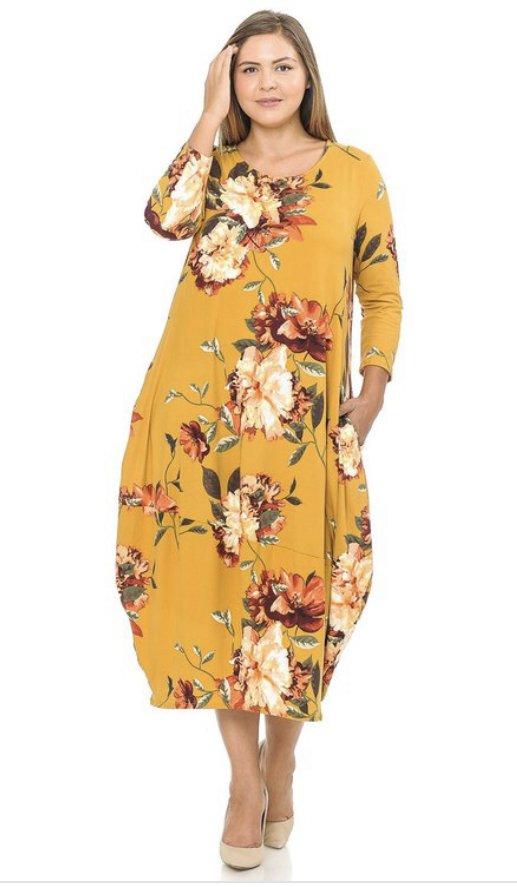 Plus Floral Mustard Bubble Dress