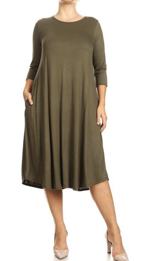 Plus Moa Dress Olive w/pockets