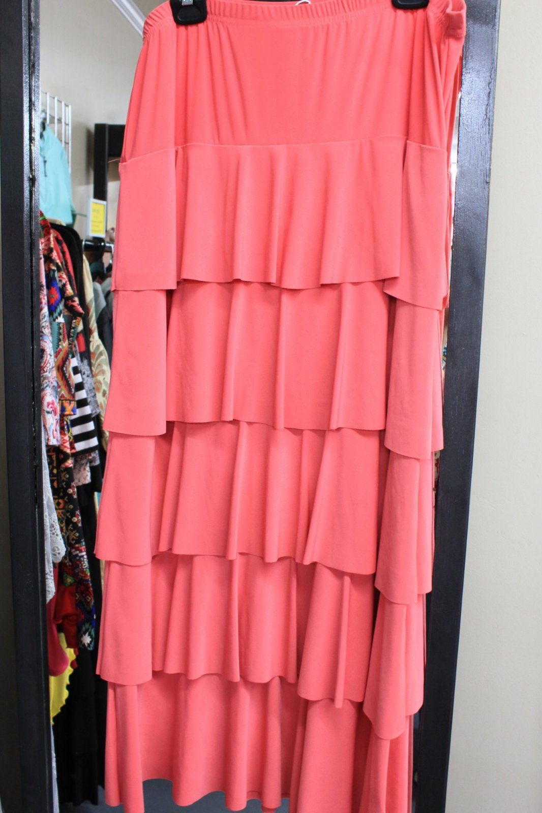 Ruffle, Layer Plus Size Skirt, Coral
