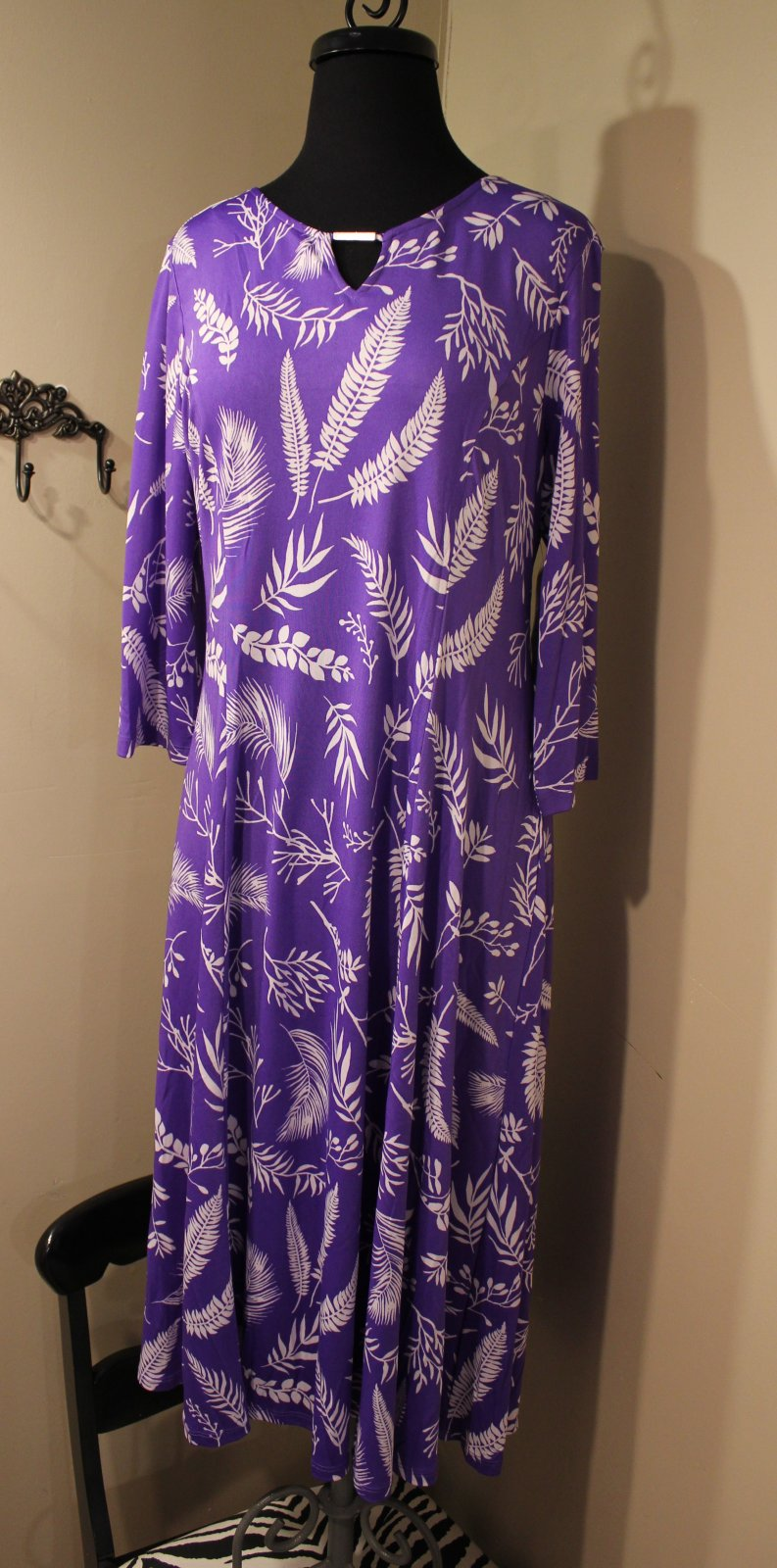 Plus purple/white print dress