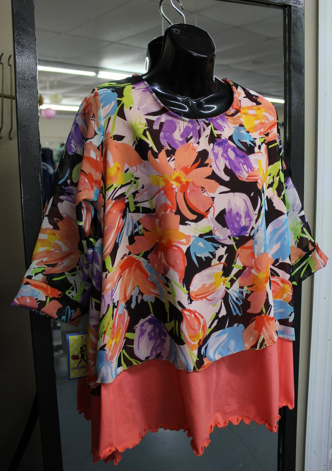 Shane Lee Coral and Floral top