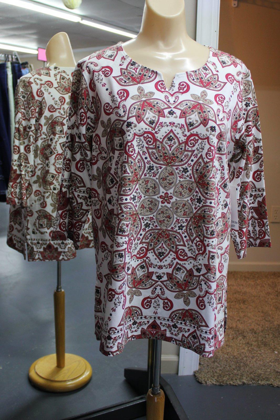 Plus Size, Khaki Printed Top, SL