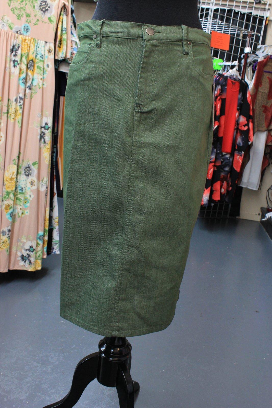 N Touch Olive Green Denim skirt