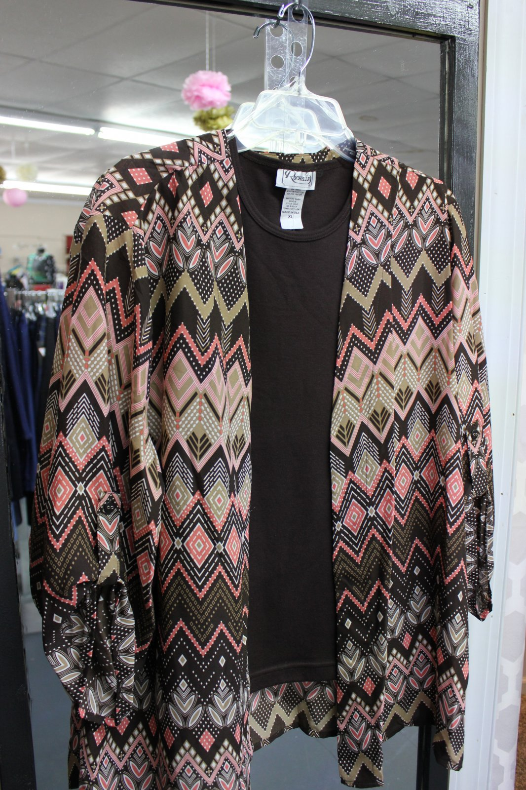 Plus SL Cardigan Brown/Coral Print