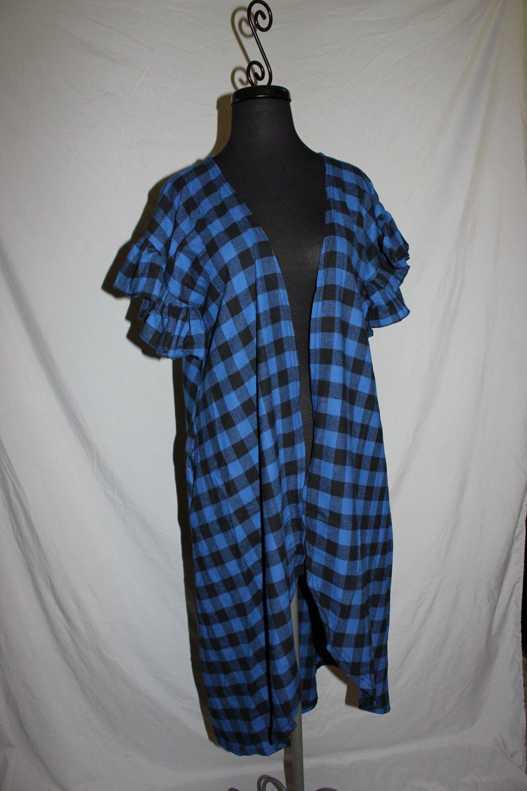 Plus Black/Royal blue plaid flannel vest