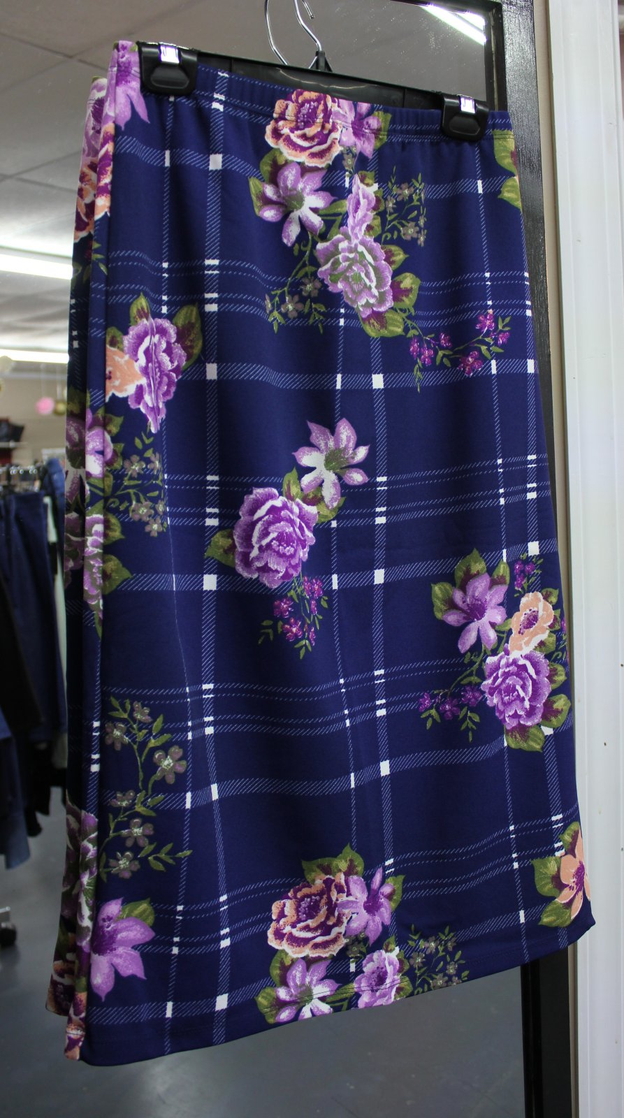 Navy Floral/Plaid print skirt 29