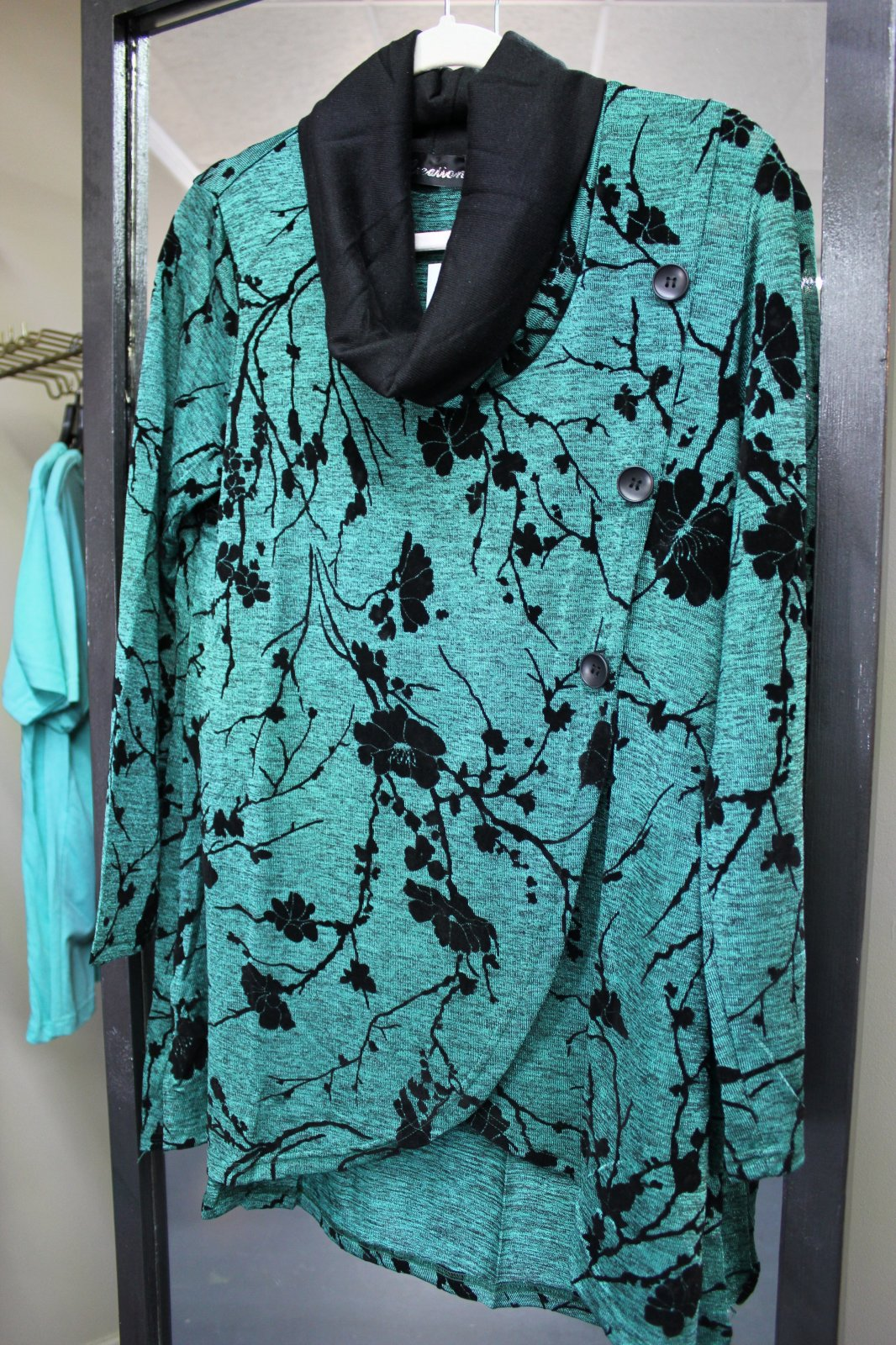 Creation Teal L/S Cowl Neck Top