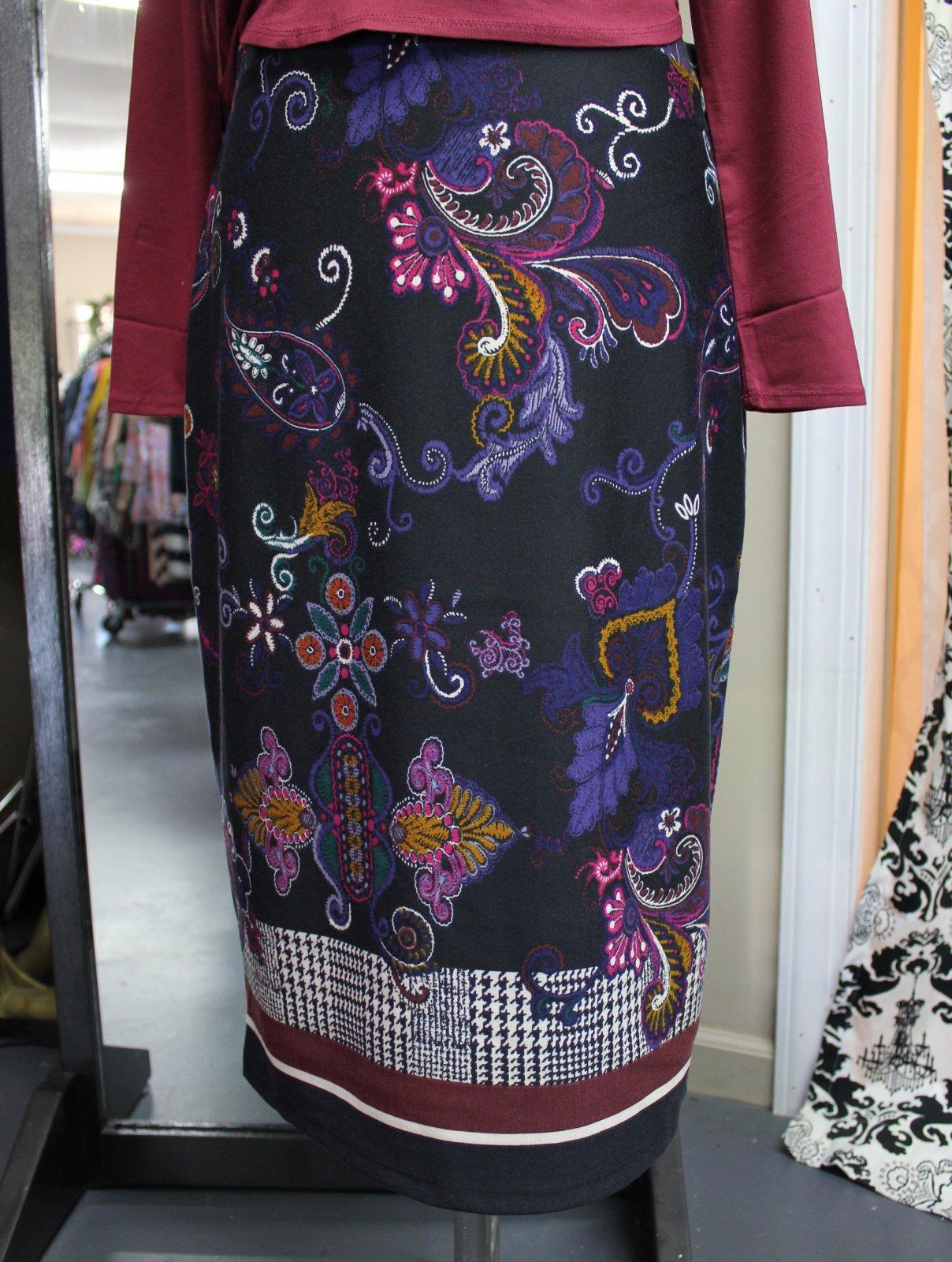 Black Paisley Border Print Skirt