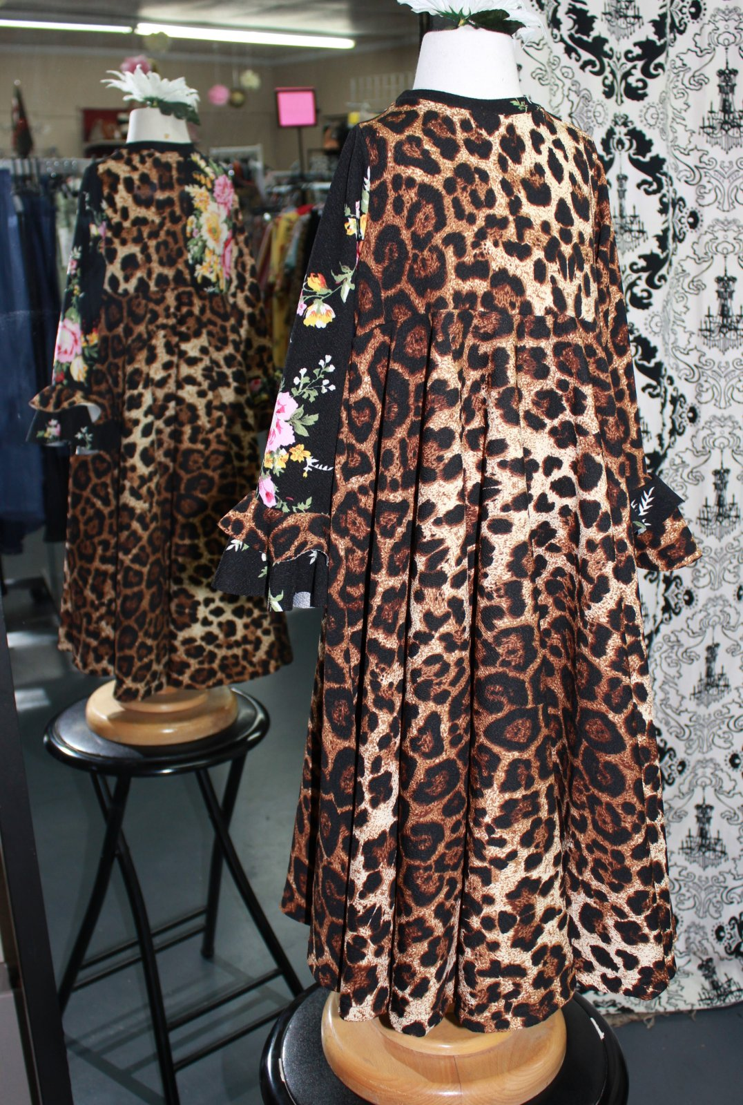 Girls Leopard & Floral Dress Bows in Blush