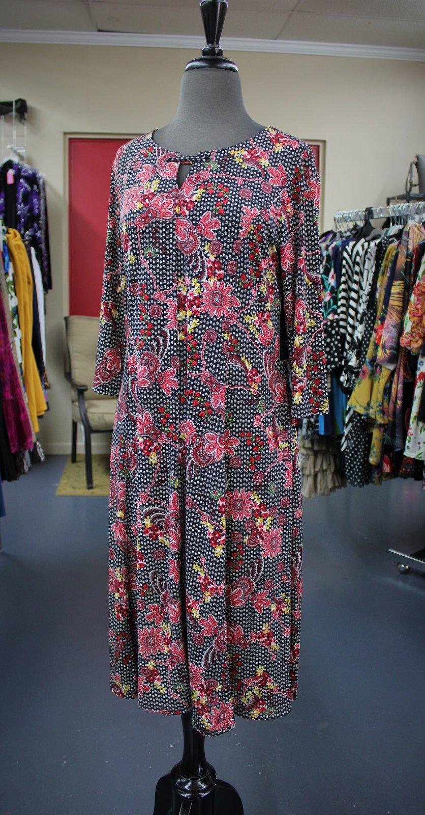 N Touch Burgundy Floral Midi Dress