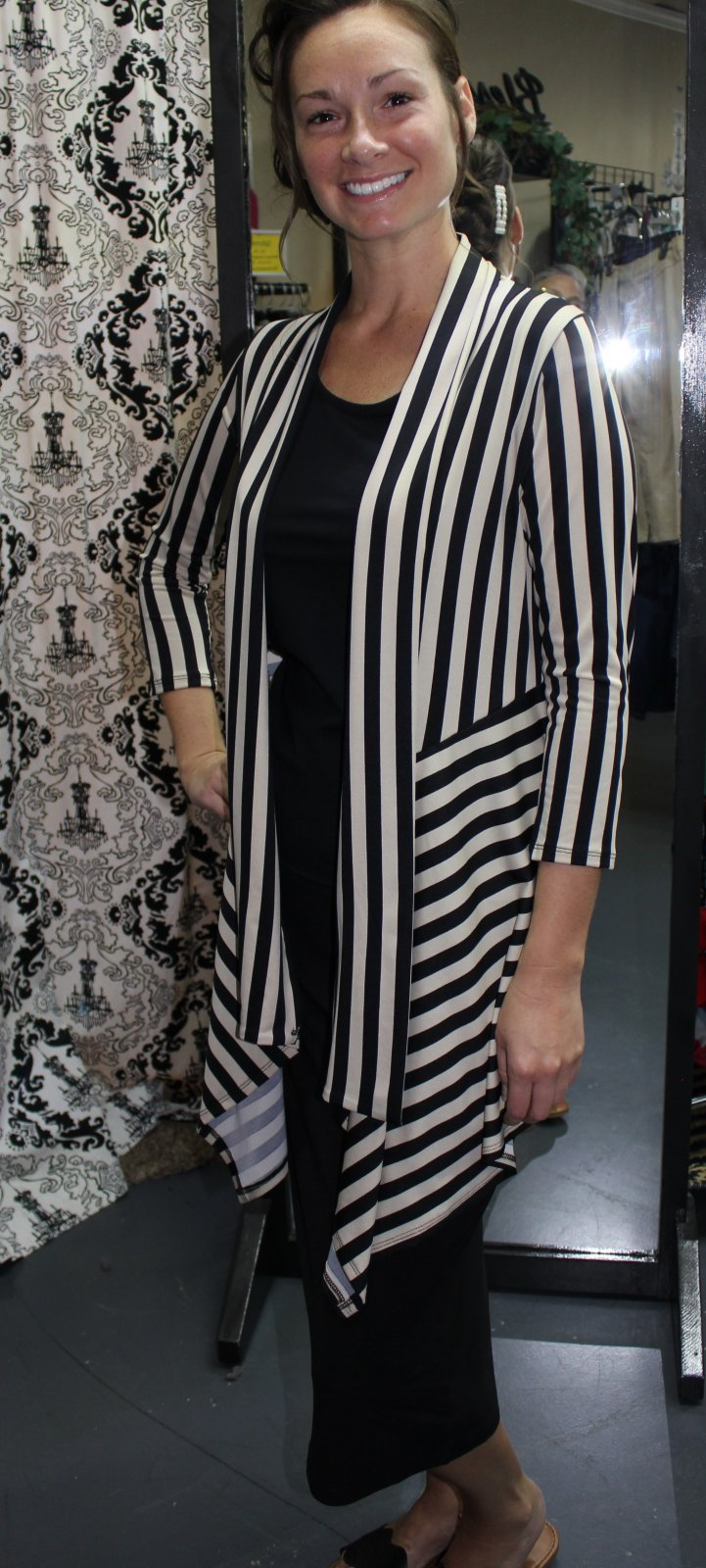 Beige and Black Striped Cardigan, Pretty Woman