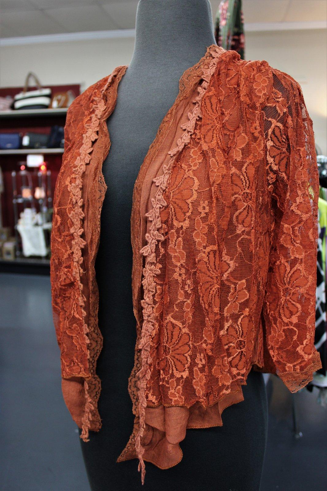 Pretty Angel Rust Bolero w/lace