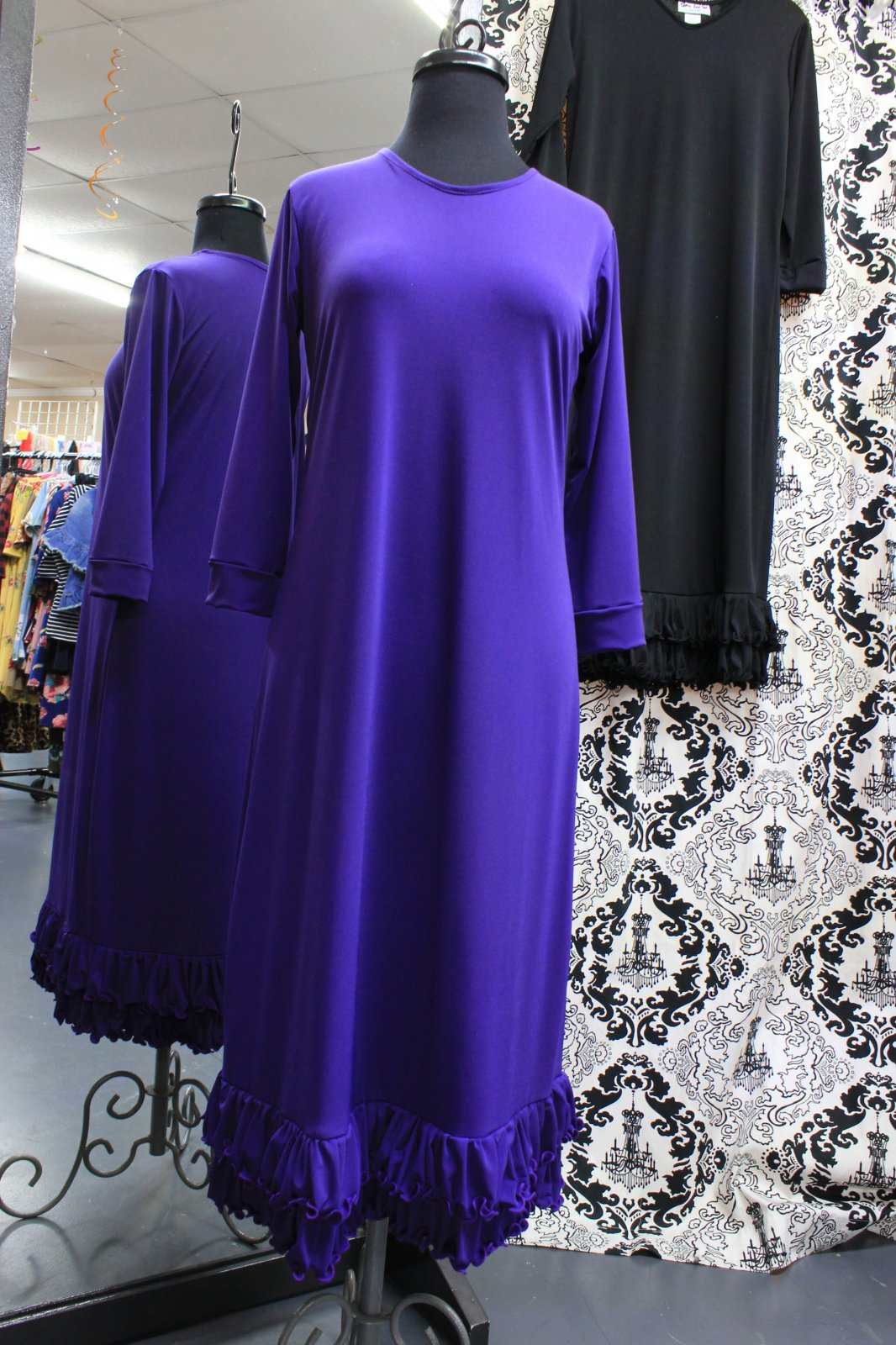 Shane Lee Purple Ruffle Hem Dress