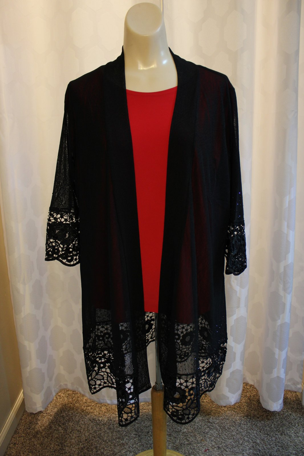 Black Sheer Cardigan w/lace 1 Size