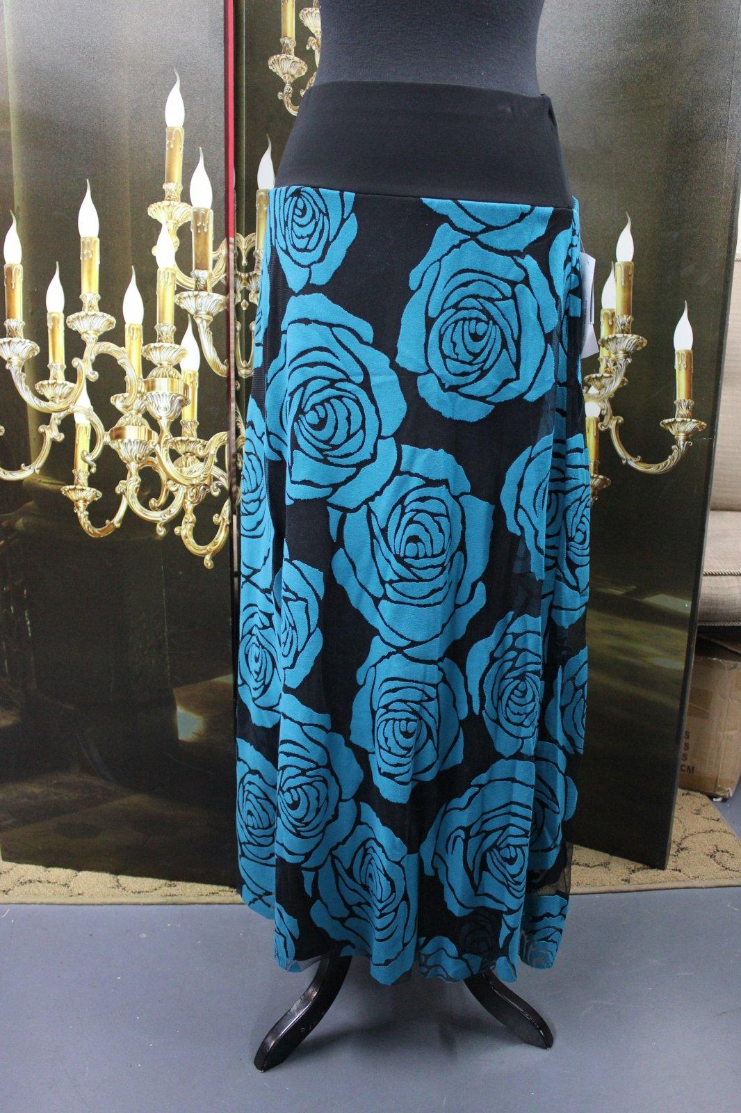 Black w/ teal roses maxi skirt