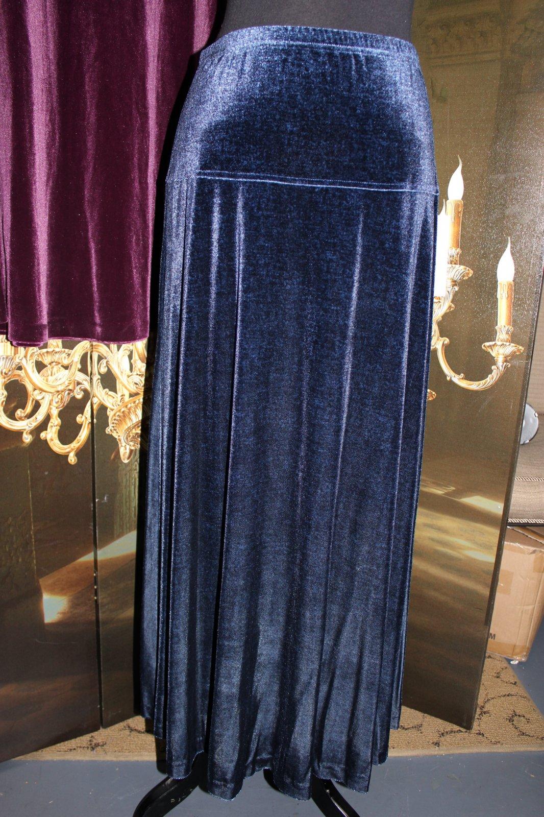 Velvet A-line Skirt Blue