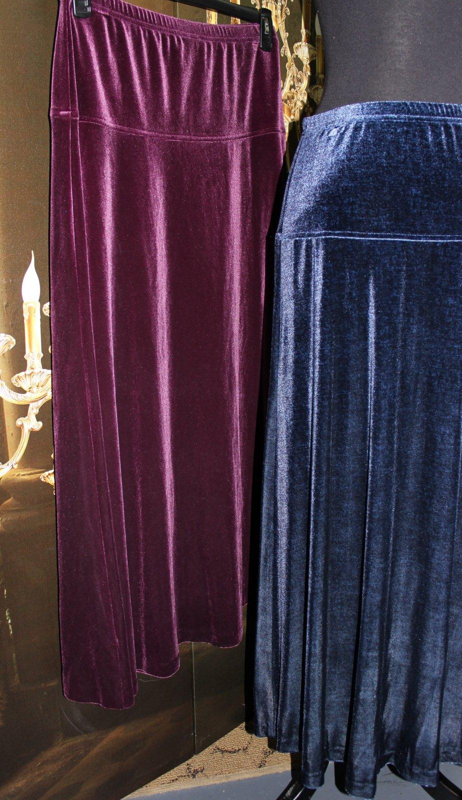 Velvet A-line Skirt Plum