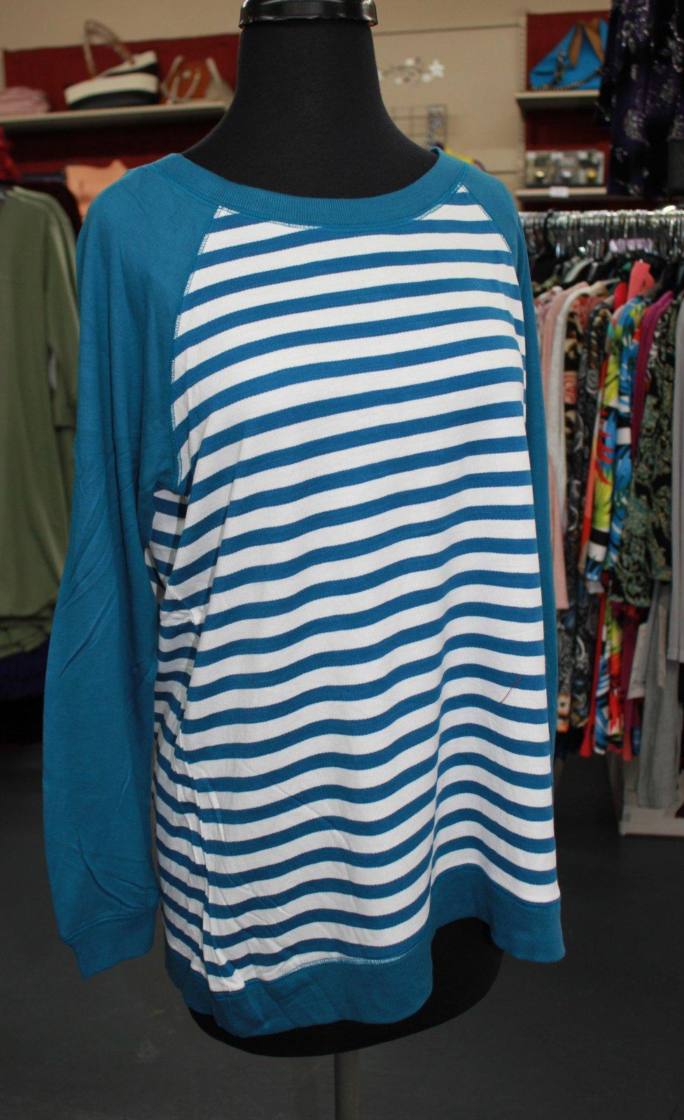 K. Hart Teal/White stripe top