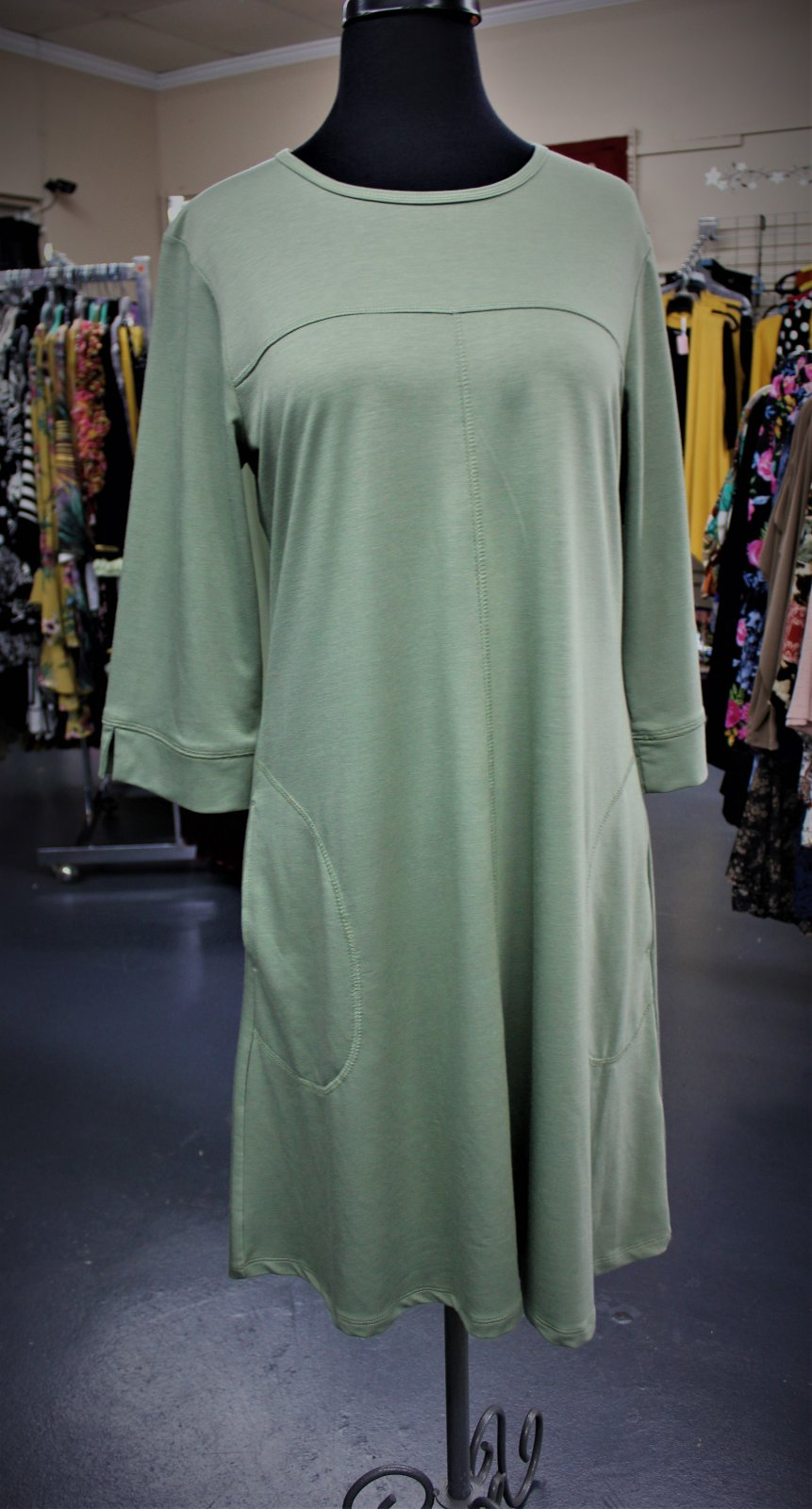 N Touch French Terry Dress Sage
