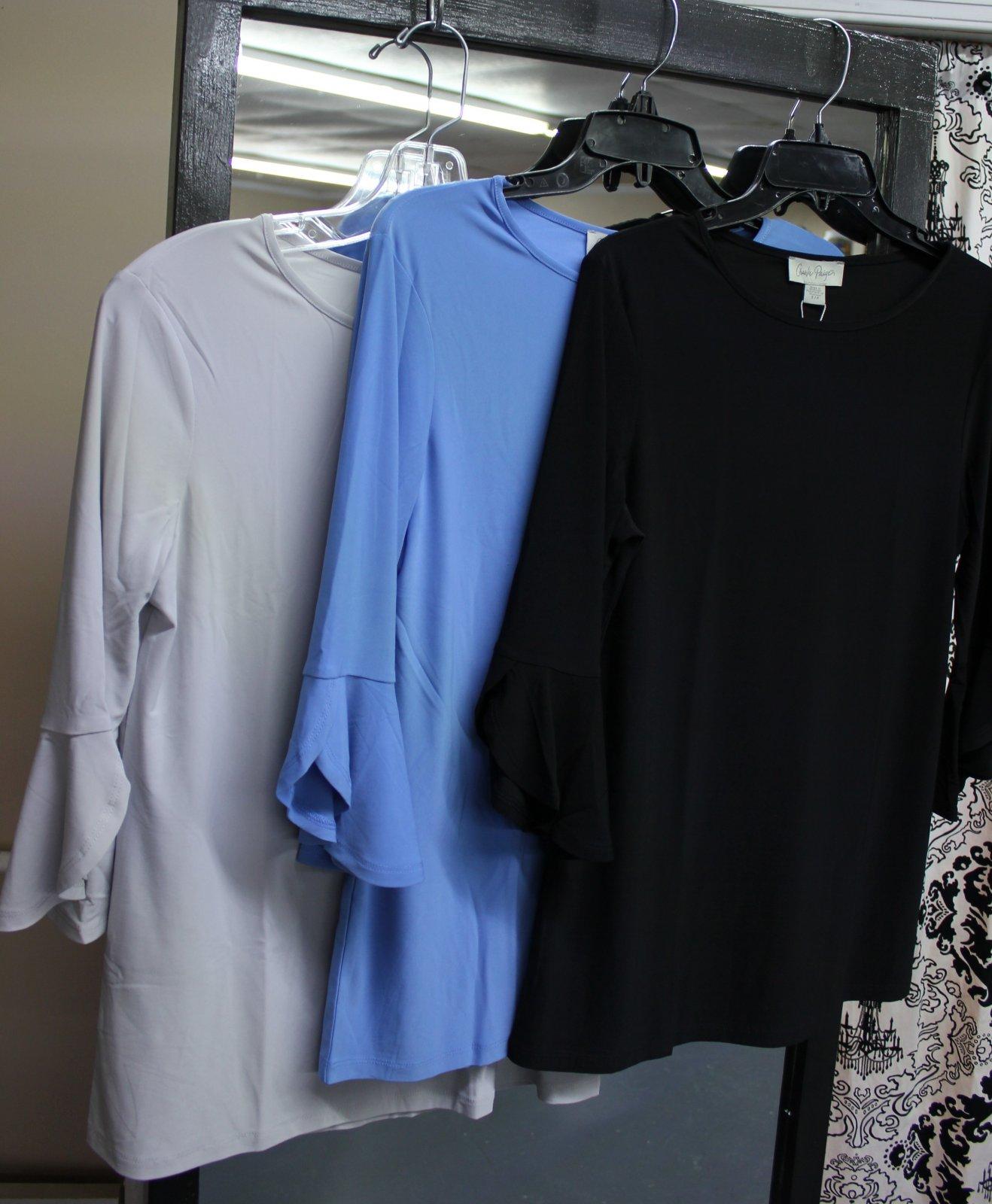 Blue Top with Flounced Sleeve, Charlie Paige