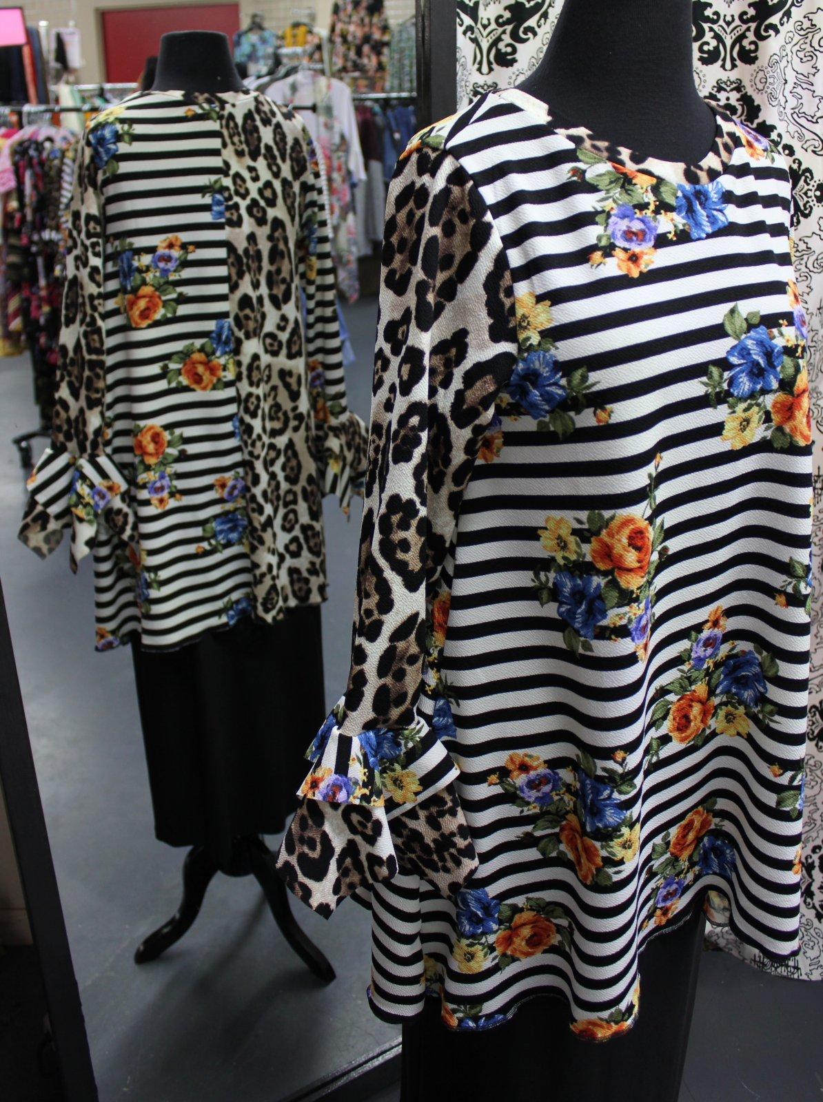 Floral/Stripe/Leopard Tunic, Bows in Blush