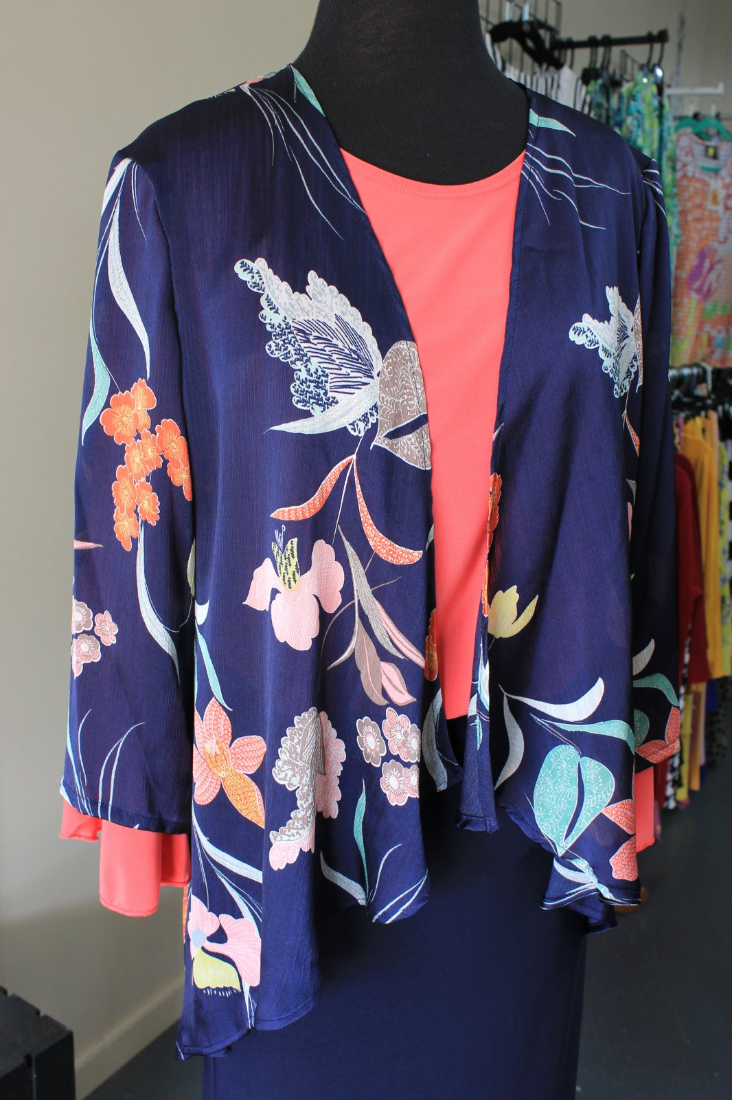 All Hours Navy Print Silky Cardigan