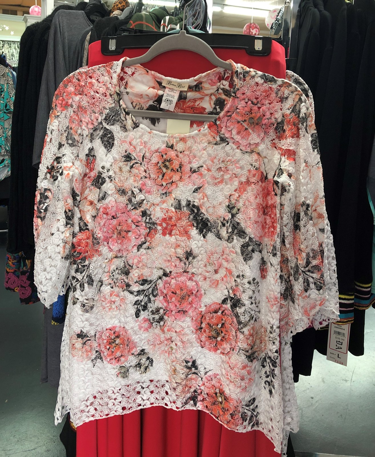 Peach floral over white lace tunic