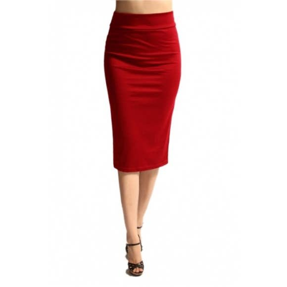 Azules Red Pencil Skirt