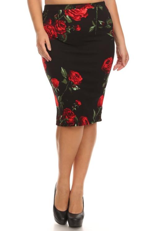 Plus Moa Pencil Skirt, black/red roses