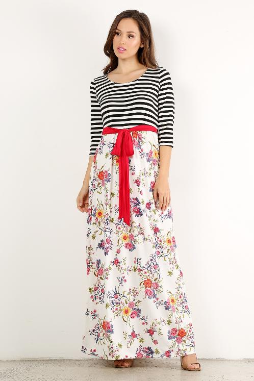 Plus Maxi dress stripe/floral