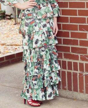 Ruffle skirt green print Sassy Skirt