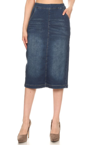 Midi Denim Skirt Indigo Wash