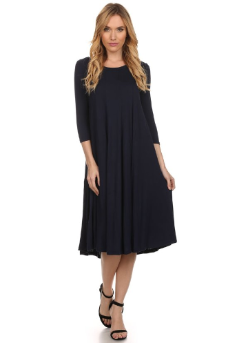 Moa Navy Swing Dress