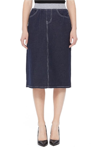 Dark Denim mid skirt w/elastic waist