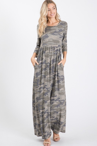Camo Maxi Dress 3/4 sleeve
