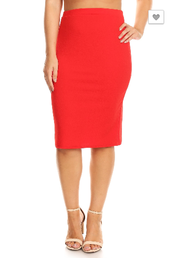 Plus Red Pencil Skirt 27 Moa