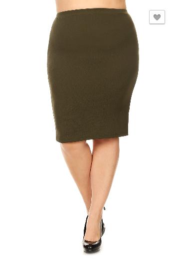 Plus Olive Pencil Skirt 27