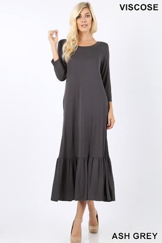 Zenana Gray Midi Dress