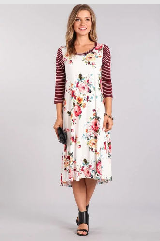 Ivory/burgundy Floral Midi Dress  Chris & Carol