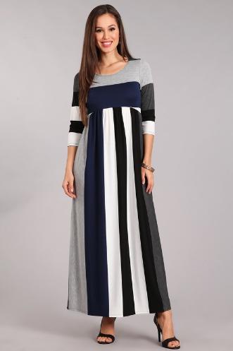 Navy & Gray Stripe Maxi Dress  Chris & Carol