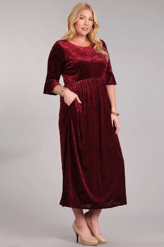 Plus Wine Velvet Dress