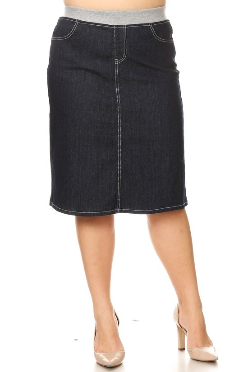 Plus Denim Skirt  Midi Dark Indigo