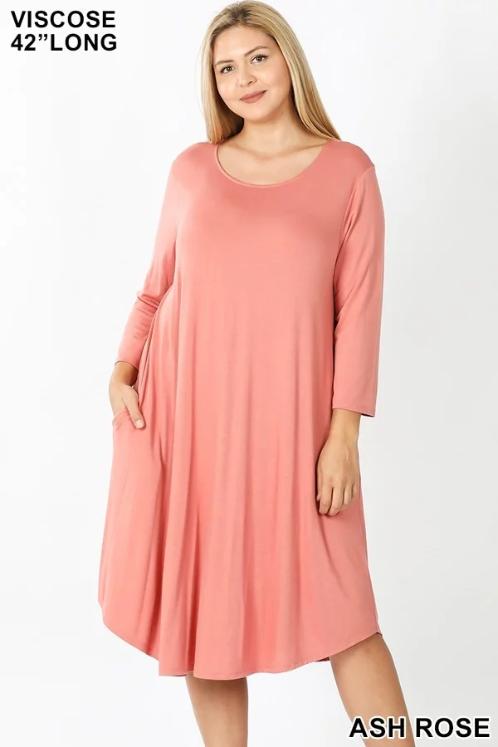 Plus Rose Swing Dress, Zenana