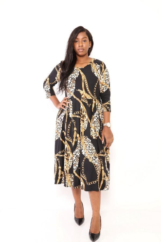 Leopard Chain Print Midi Dress PLUS