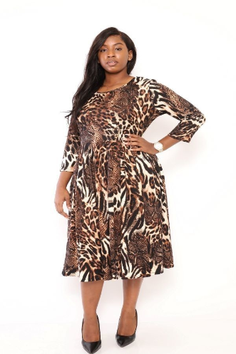 Mixed Animal Print Midi dress PLus