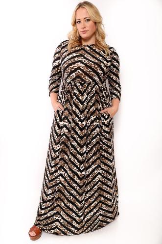 Chevron Animal Print Maxi Dress