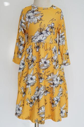 Girls Mustard Floral Dress