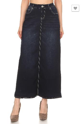 Denim Maxi Skirt Dark Wash