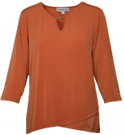 Plus Rust Top with Keyhole Neckline